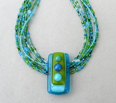 Versatile Beaded Fused Glass Necklace by eccentricityglass, via Flickr