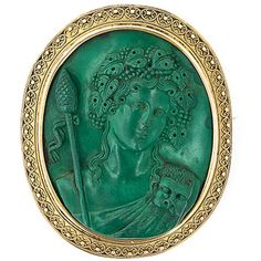 1STDIBS.COM Jewelry & Watches - Antique Malachite Cameo of Dionysus -... ❤ liked on Polyvore featuring jewelry, brooches, cameo, rings, pin, cameo brooch, antique broach, pin jewelry, pin brooch and cameo jewellery