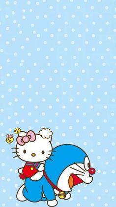 Hello kitty + doraemon wallpaper