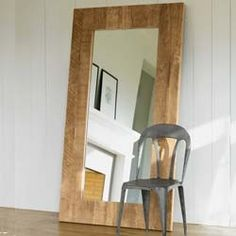 Classic Floor Mirror - frame a cheap mirror with barnwood and lean against the wall