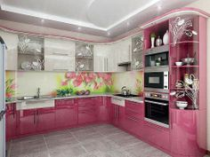 Purple And Pink Kitchen Designs, That Will Amaze All Ladies ~ Decor Name Pink Kitchen Designs, Kitchen Room Design, Modern Kitchen Design, Home Decor Kitchen, Kitchen Furniture, Kitchen Interior, Kitchen Modular, Smart Kitchen, Kitchen Sets