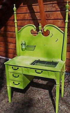 green desk upcycled from a headboard