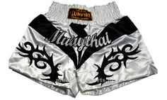 Muay Thai Kick Boxing Shorts Trunks Satin Tattoo Style White