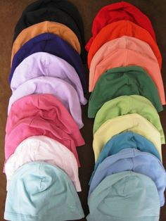 Set of 3, Solid Color Cotton Spandex Chemo Caps, Chemo Hat, Sleep Caps, Comfy and stretchy caps