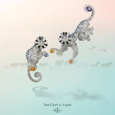 Get in the swing of things with Van Cleef & Arpels' tribute to Noah's Ark. Adorned with spessartite garnets, sapphires and diamonds, these monkeys are just two of the dazzling creatures on display in the Maison's new High Jewelry collection #VCAarchedenoé