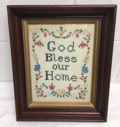ANTIQUE DEEP SHADOW BOX FRAME CROSS STITCH MOTTO SAMPLER GOD BLESS OUR HOME | Antiques, Decorative Arts, Picture Frames | eBay!
