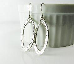Simple elegance! Silver Dangle Earrings  Silver Hoop Earrings  by BeadzNBling