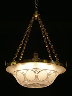Victorian Chandelier - A reproduction frosted and cut Osler & Faraday bowl light. Based on an original Osler & Faraday bowl light (Model No. O.F.3664).