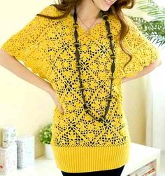 free crochet flower or square patterns for women's clothing
