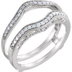 651995 / 14kt White / 1/4 CTW Diamond Ring Guard.. #14kt #rose #gold #diamond #bridal #engagement #wedding #ring #fashion #jewelry #jewelryring #diamondring #engagementring #fashionring #lovely #Ringguard #Warp #Enhancer #Ringjacket