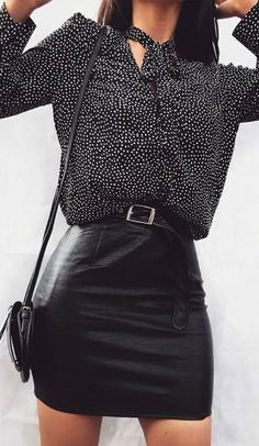Try a leather skirt with a polka dot blouse for a night out this spring. Let Daily Dress Me help you find the perfect outfit for whatever the weather! dailydressme.com/