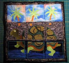 Turtle Island Embroidered Wall Hanging Quilt for a restaurant called The Stone Turtle. Unfortunately now out of business.