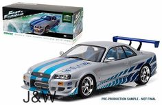 Greenlight Nissan Skyline R34 1999 Brian's Fast and Furious Silver 1/18 19029  #GreenLight