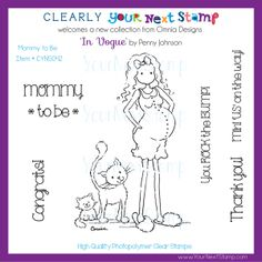 Mommy to be (clear set) - USD : Your Next Stamp Clear Stamps, Copic, The Rock, Growing Up, Coloring, September, Vogue, Patterns, Paper