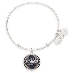 Disney Parks Star Wars May the Force Be With You Bangle by Alex and Ani Charm Silver finish Enamel cloisonné charm ''May The Force Be With You'' text Plus ''Infused With Positive Energy,'' ''Made in A
