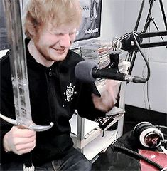 Losing his mind over Jon Snow's (from Game of Thrones') sword. Presh.
