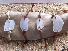 Welsh Gower sea glass leather bracelet/beach by GowerSeaGlass