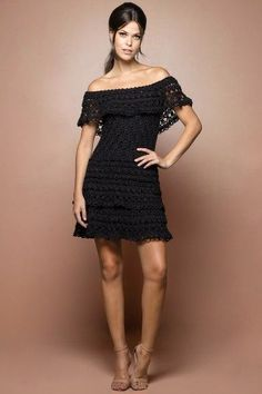 Black Martini Crochet Dress - Vanessa Montoro USA Más
