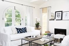 """I knew I didn't want an overly formal living room but more of a place that's inviting, relaxing, and more casual,"" notes Schwarzenegger. ""It was also important to me that the living room look..."