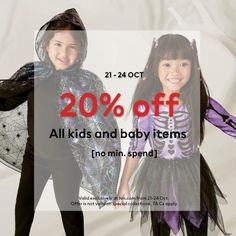 H&M Online Kids and Baby Item Halloween Sale 20% OFF from 21 October 2021 until 24 October 2021