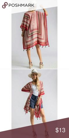 Aztec scarf print kimono shrug with tassels RED Gorgeous NEW Aztec scarf print kimono shrug with tassel trim. One Size fits most- oversized fit. 100% polyester. 38x71. Bundle and save! Sweaters Shrugs & Ponchos