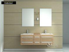Meuble de salle de bain en bois avec double vasques coloris érable Réf: CS-A112-E