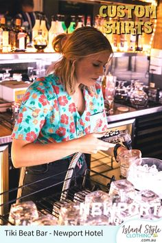 Tiki Beat Bar, Newport Hotel Custom Hawaiian Shirt Bar Uniforms. Free design on the Sunshine Coast, Qld. #customshirts #sunshinecoast #hospitalityshirts #hospitalityuniforms #baruniforms #unishirts #madetoorder #sunnycoast #qld #islandstyleclothing