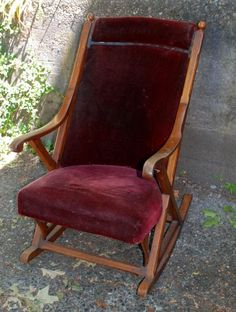e26f55eb93b8c Antique Oak Rocking Chair with Original Red Velvet Upholstery