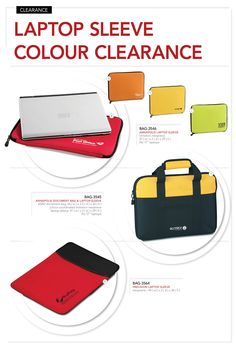 Laptop-Sleeve-Colour-Clearance  We'd like to clear select colours in the laptop sleeve models below.  BAG-3546 – Annapolis Laptop Sleeve  Clearance Price – R27.99 excl VAT  Price applies to Red, Orange, Yellow and Lime only.  BAG-3545 – Annapolis Document Bag & Laptop Sleeve  Clearance Price – R45.00 excl VAT  Price applies to Yellow.  BAG-3564 – Precision Laptop Sleeve  Clearance Price – R36.99 excl VAT  Price applies to Red only.