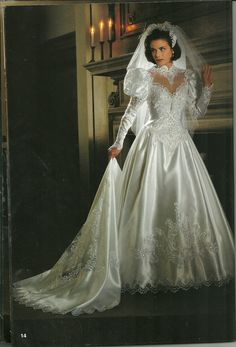 Bridal Gown with Heart Design The most beautiful satin & lace ball style wedding gown I've ever seen. I have no idea where it came from but sure would. 1980s Wedding Dress, Old Wedding Dresses, Beautiful Wedding Gowns, Bridal Dresses, Vintage Dresses, Beautiful Dresses, Dress Wedding, Wedding Ceremony, Retro