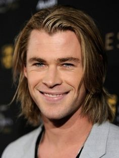 Long thrown back and messy style, chris hemsworth