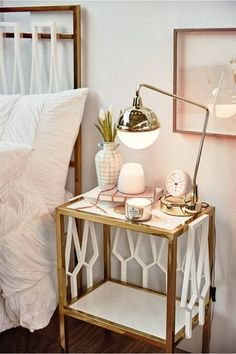 Pretty bedside tables and cute ways to decorate them - click for inspiration to make your bedroom a more stylish place.