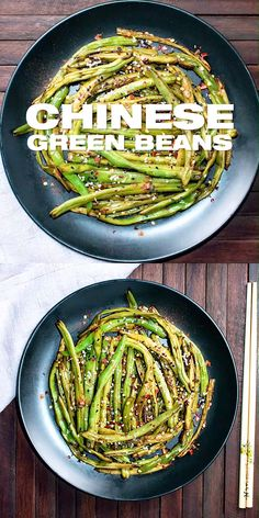 green bean Chinese Szechuan Dry Fried Green Beans Recipe - Oriental spicy green bean side dish with ginger, Szechuan pepper, sesame seeds and chili pepper flakes. Serve up this flavorful an Szechuan Green Beans, Asian Green Beans, Chinese Green Beans, Spicy Green Beans, Szechuan Beef, Chinese Beans Recipe, Spicy Recipes, Asian Recipes, Vegetarian Recipes