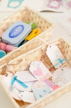 washi tape tags - stamp and washi tape a large amount of these tiny tags and let people choose their favorites  Possible Price of 5/$2 ???