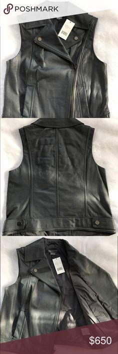 Vince Leather Vest Authentic Vince leather vest. Size XS / Color Gray. Cute and chic - perfect over a t-shirt or turtle neck. Vince Jackets & Coats Vests