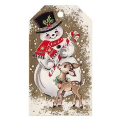 1950s Vintage Snowman With Baby Deer Gift Tags - winter gifts style special unique gift ideas