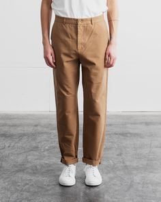 Relaxed Trousers - Canvas Relaxed Outfit, Color Khaki, Welt Pocket, Cotton Canvas, Khaki Pants, Trousers, Jackets, Outfits