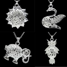 Silver plated 3D Hollow Out Animals Owl Elephant Charm Pendant Fit Necklace New #Unbranded #Pendant