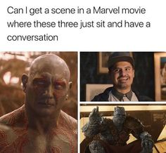 Can I get a scene in a Marvel movie where these three just sit and have a conversation - iFunny :) Avengers Humor, Funny Marvel Memes, Marvel Jokes, Dc Memes, Funny Animal Memes, Marvel Dc Comics, Marvel Avengers, Funny Memes, Movie Memes