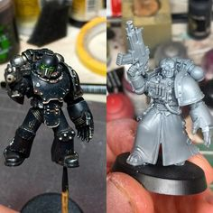 Few people asked to see my pravian so here's the old one against the new one I'm working on! Warhammer Models, Warhammer 30k, Warhammer Inquisitor, Dark Angels, Miniature Tutorials, The Grim, Old Ones, Space Marine, Gw