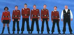The Star Trek TOS crew circa movie VI. It makes me giggle, somehow, that Scotty stands out with his outfit. Anyways. I love these guys. <3