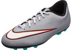 Nike Youth Mercurial Vortex II CR7 FG-R Soccer Cleats - Silver and Turquoise