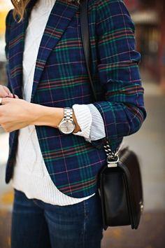 Plaid blazer with cute accessories