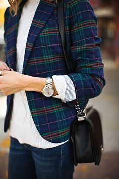 All the rage this fall and winter: Plaid! Love the colors in this blazer. Target Real Talk Test Drive: 4 Tips to Style a Plaid Blazer.