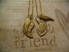 BFF Best Friend Charm Angel Wing Necklaces Friendship  Jewelry sm. $17.99, via Etsy.