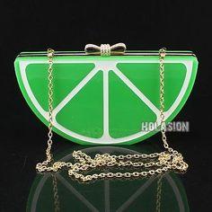 Fashion-Girls-a-piece-of-Green-Lemon-Shaped-Acrylic-Clutch-Evening-Bag-Handbag