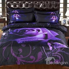 Buy Purple Rose Duvet Cover Set Cotton Polyester HD Bedding Set Bedclothes Single Twin Double Full Queen King Size Bedding Sets at Wish - Shopping Made Fun Purple Bedding Sets, 3d Bedding Sets, King Size Bedding Sets, Luxury Bedding Sets, Comforter Sets, Linen Bedding, Bed Linens, King Comforter, Black Comforter