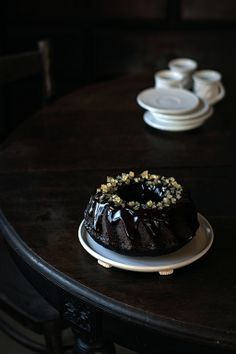 Chocolate bundt cake with coffee