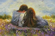 Romantic art - loving couple original oil painting lovers in spring art spring love hugging kissing romantic vickie wade art Couple Painting, Couple Art, Love Painting, Poetry Painting, Romantic Paintings, Beautiful Paintings, Art And Illustration, Spring Art, Love Art