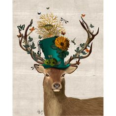 Found it at Wayfair - 'Mad Hatter Deer' Painting Print on Wrapped Canvas